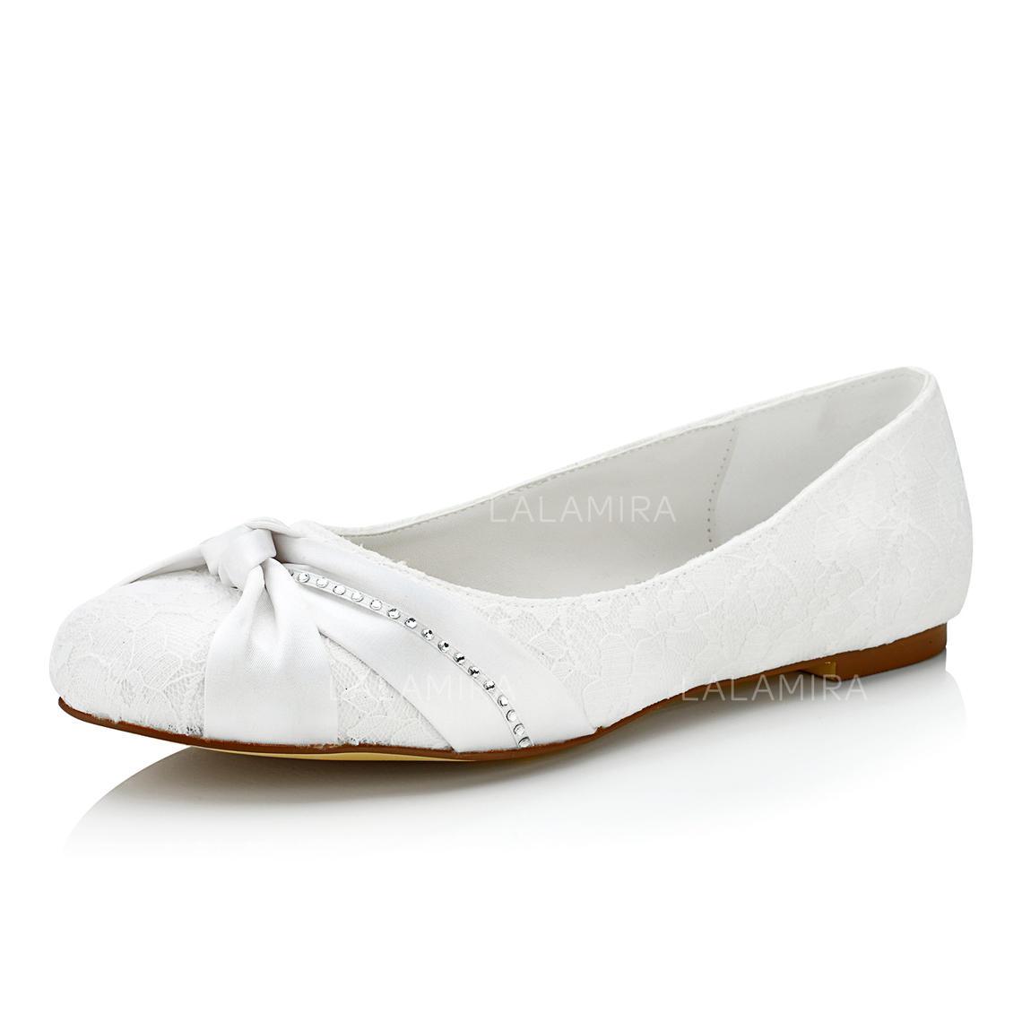 Femmes Chaussures Plates Talon Plat Dentelle Avec Plisse Chaussures De Mariage 047102647