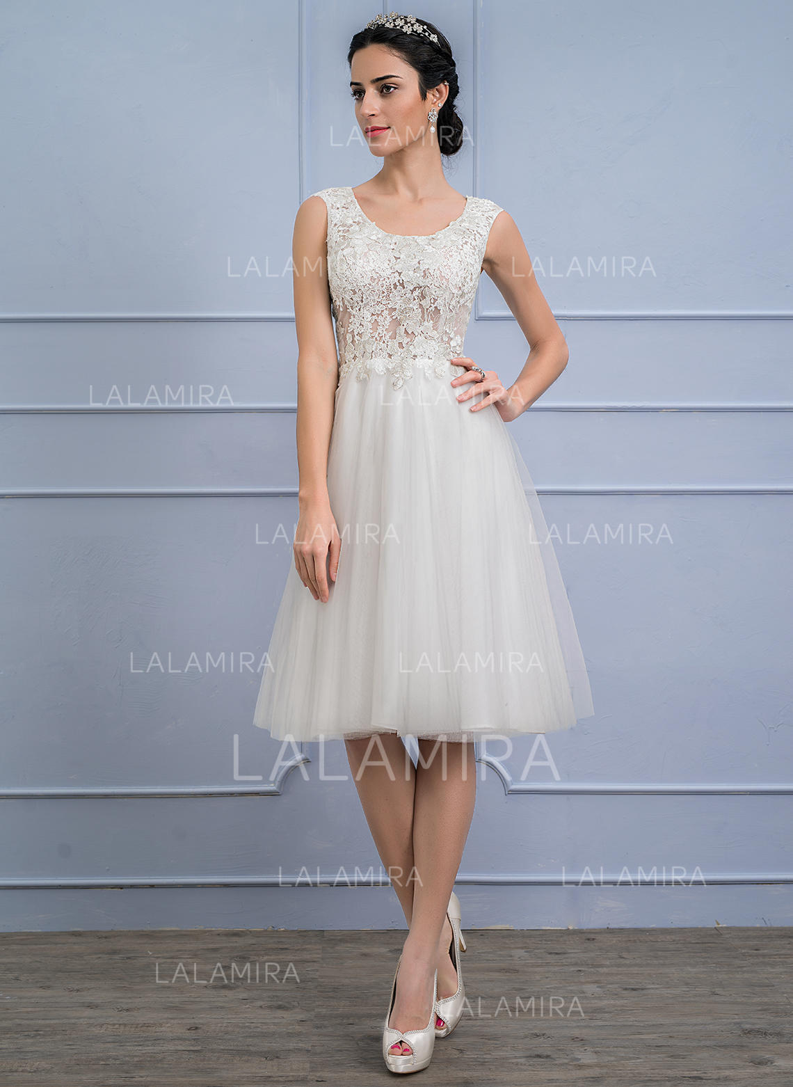 dbbc4de2f84 A-Line Princess Scoop Neck Knee-Length Tulle Lace Wedding Dress (002107842.  Loading zoom