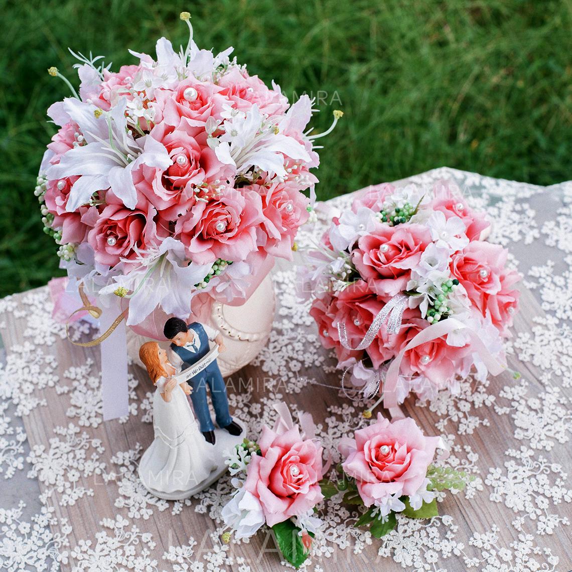 Flower Sets Round Wedding Artificial Silk Big Bouquet Diameter:20cm ...