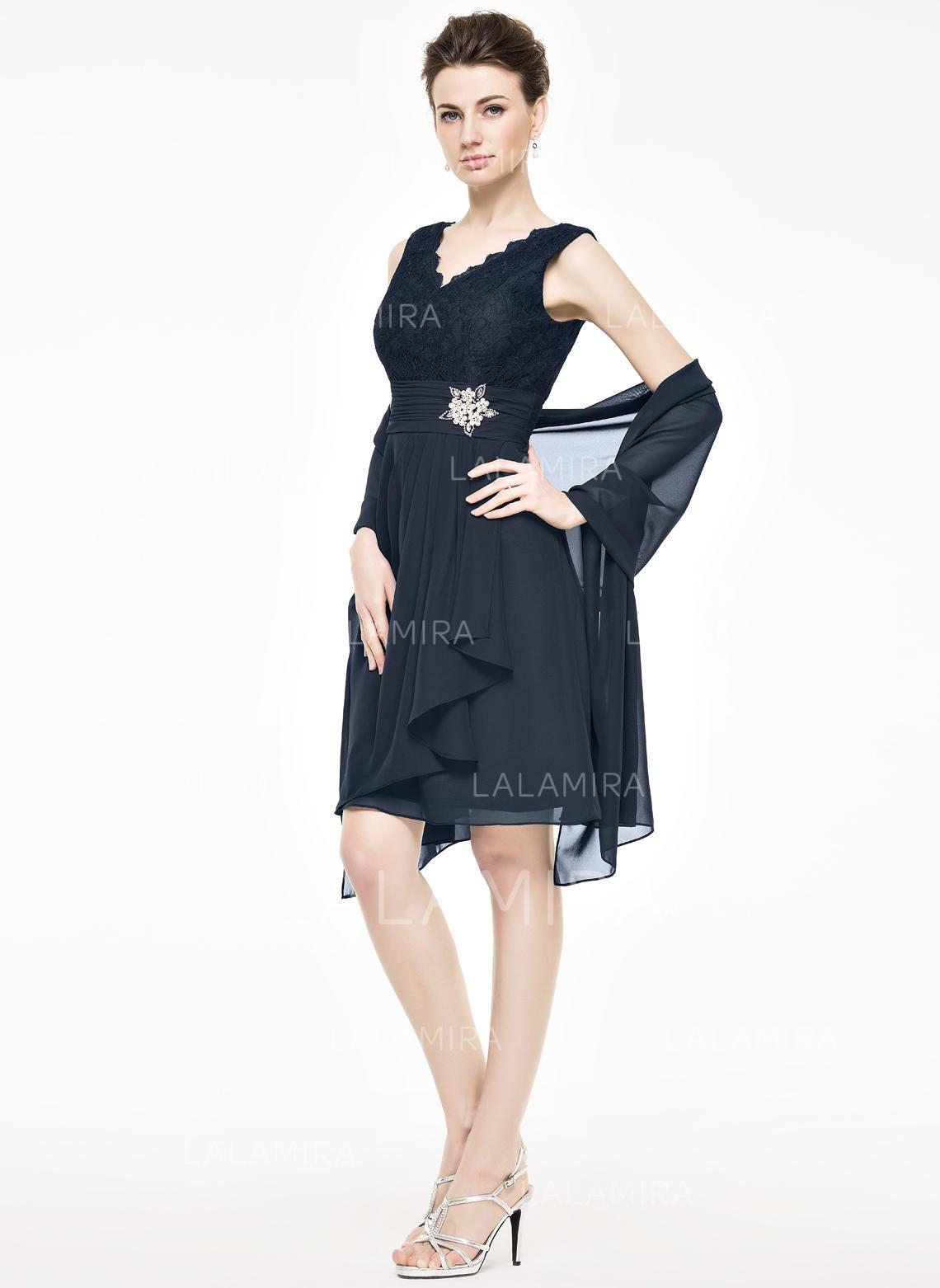 a4d8757b905c ... gray mother of the bride dresses. A-Line/Princess Chiffon Lace  Sleeveless V-neck Knee-Length Zipper Up. Loading zoom