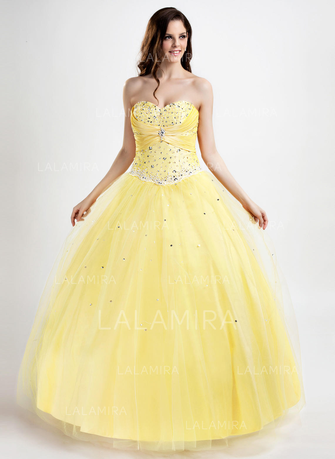 Ball-Gown Sweetheart Floor-Length Prom Dresses With Ruffle Beading ...