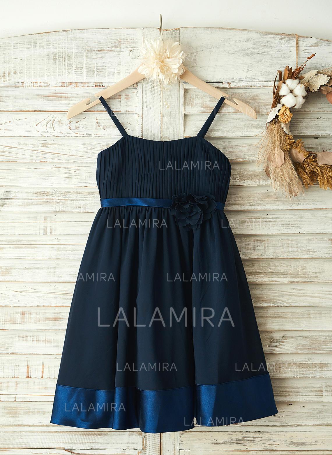 bd7337f36cb Modern Straps A-Line Princess Flower Girl Dresses Knee-length Chiffon  Sleeveless (. Loading zoom