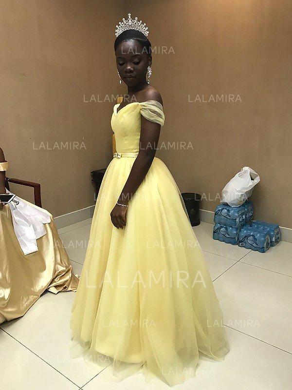 sash beading a-line/princess tulle luxurious sleeveless prom dresses