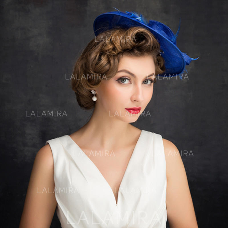f1acfe18fb5aa Feather/Net Yarn/Tulle/Linen With Feather Fascinators Classic Ladies' Hats  (. Loading zoom