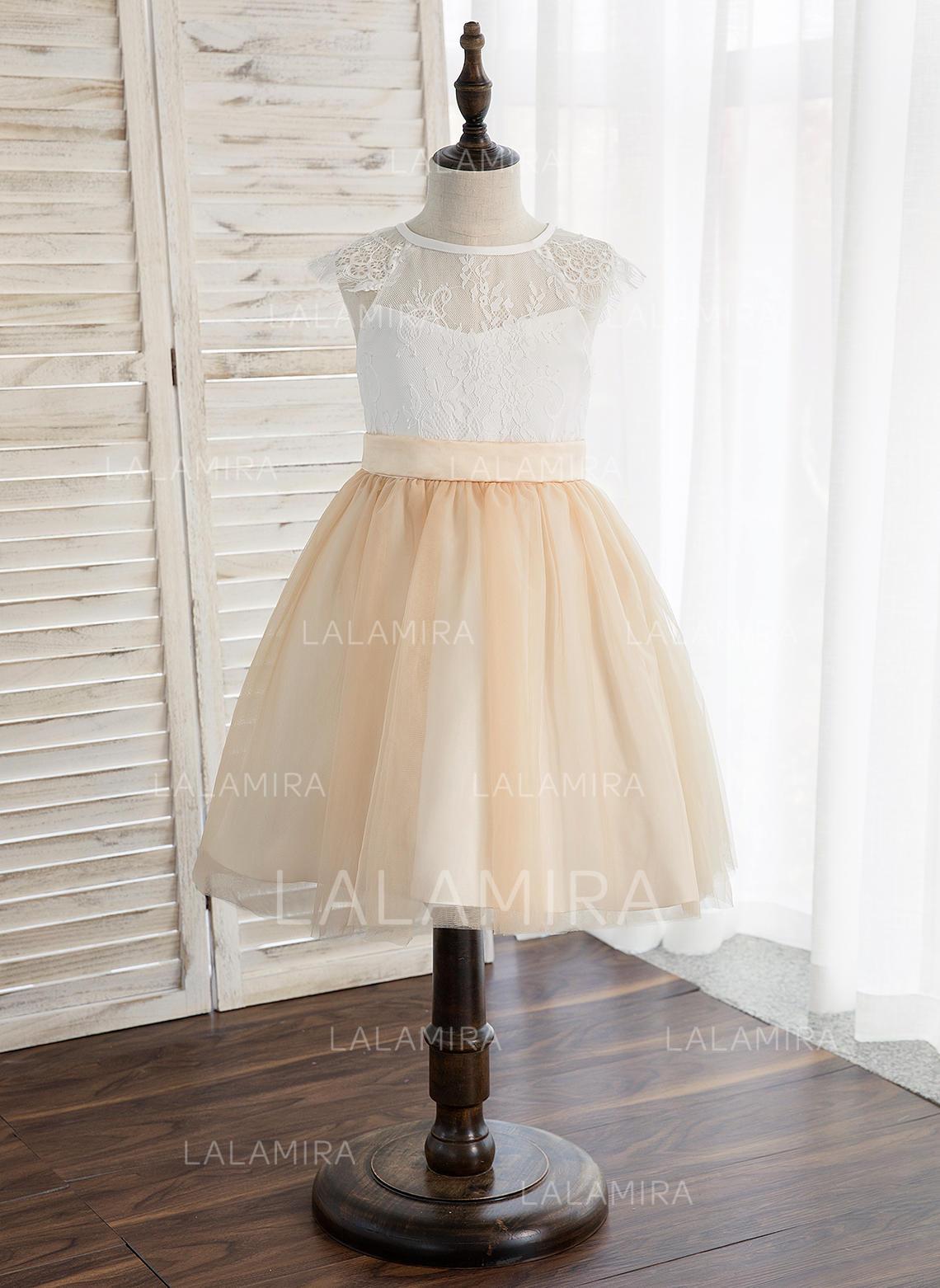 f285f37ea389 A-Line/Princess Knee-length Flower Girl Dress - Tulle/Lace Sleeveless. Loading  zoom