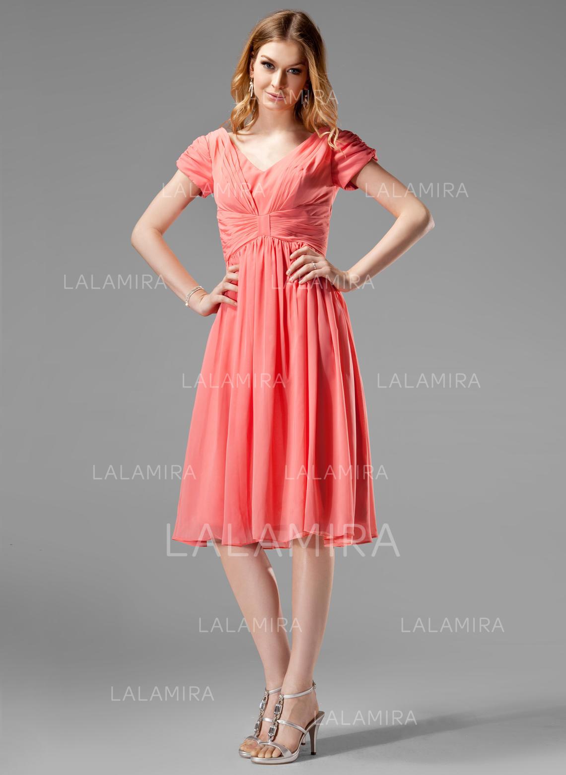 A lineprincess v neck knee length chiffon bridesmaid dress with bridesmaid dresses 4160 loading zoom ombrellifo Images