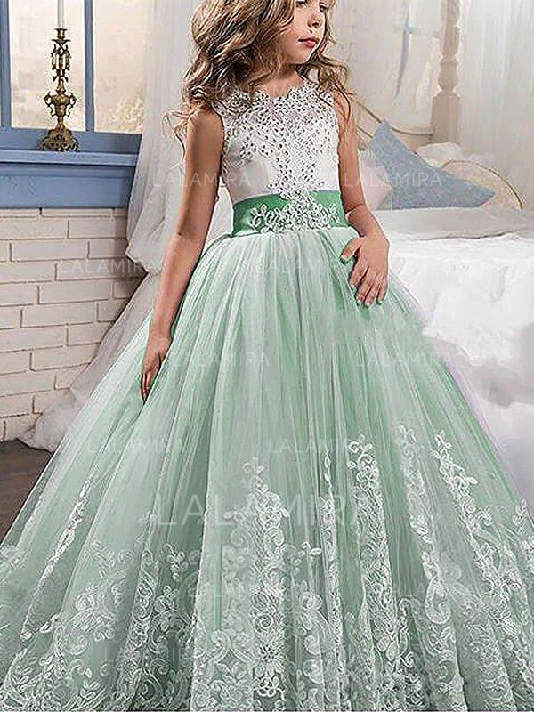 Ball Gown Scoop Neck Sweep Train With Beading/Appliques/Bow(s) Tulle ...
