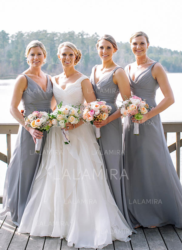 f0f41d808fc A-Line Princess Chiffon Bridesmaid Dresses Ruffle V-neck Sleeveless Floor- Length. Loading zoom