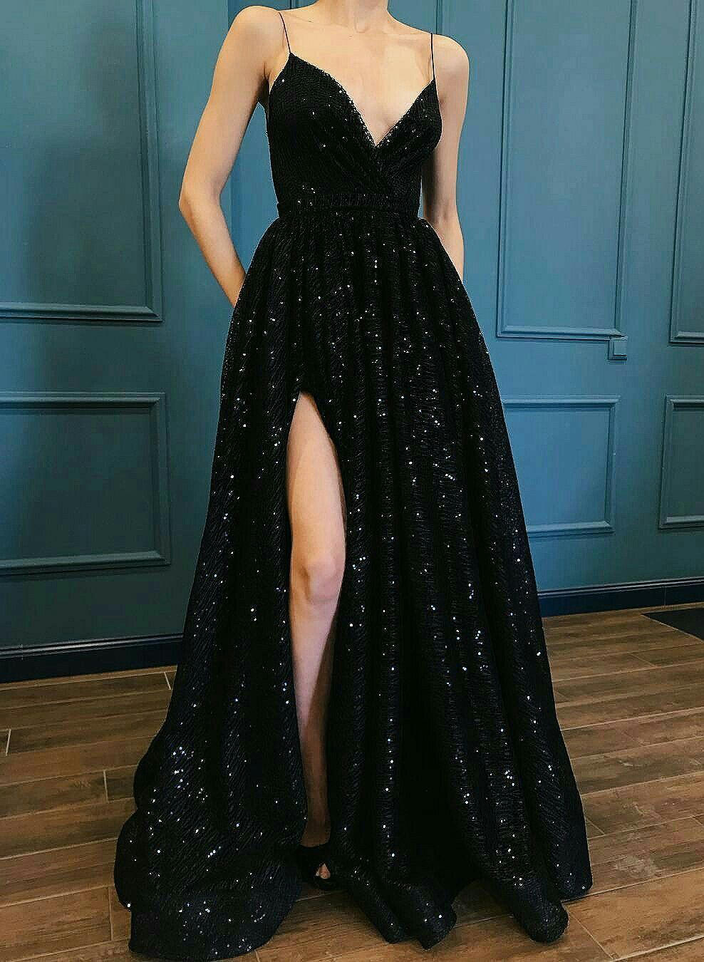 spaghetti straps sequined v-neck a-line/princess with prom dresses