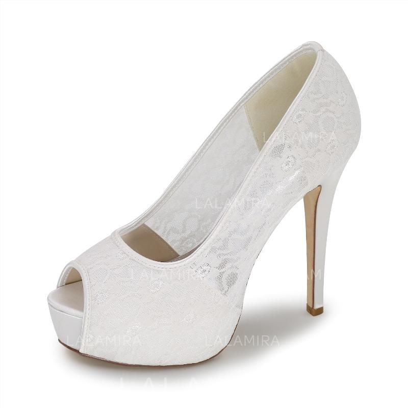 No Heel Wedding Shoes: Women's Peep Toe Pumps Stiletto Heel Lace No Wedding Shoes