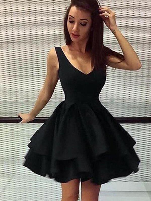 c669ab104f 2019 New Homecoming Dresses A-Line Princess Short Mini V-neck Sleeveless.  Loading zoom