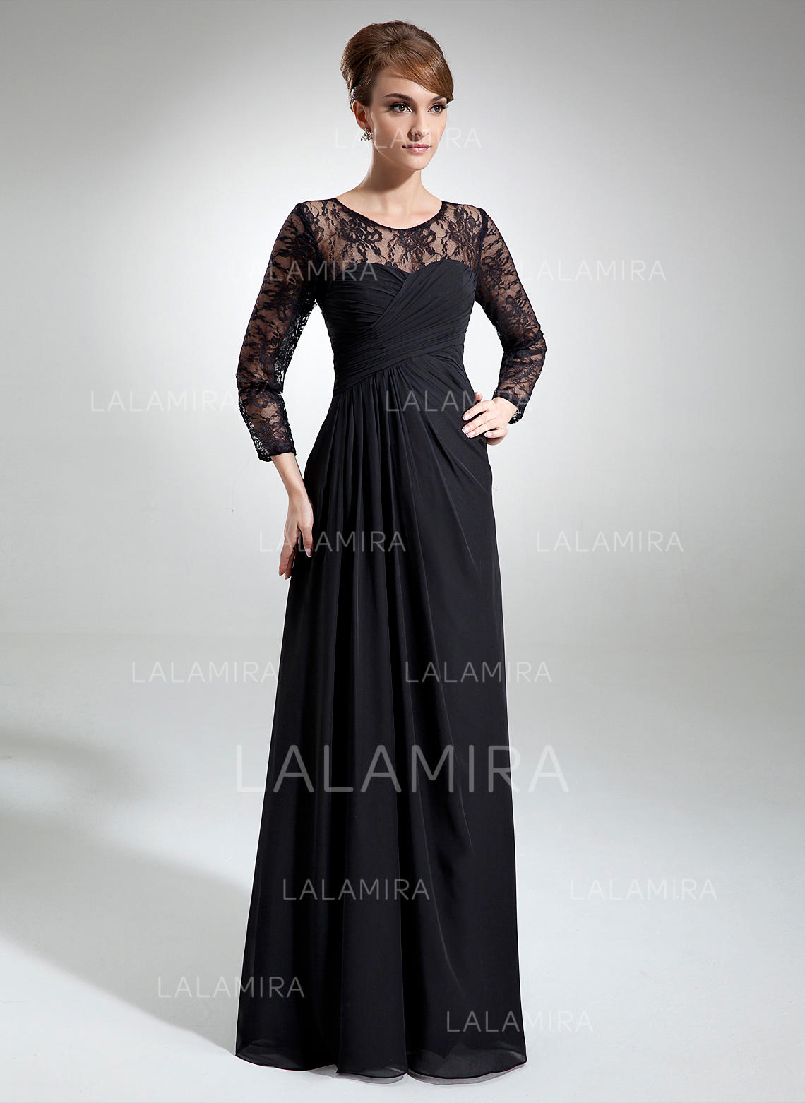 39868555d06 A-Line Princess Chiffon Lace Long Sleeves Scoop Neck Floor-Length Zipper  Up. Loading zoom