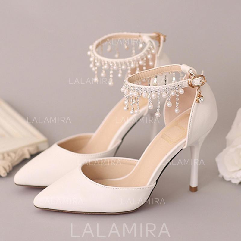 bc0ec50ed27 Women s Closed Toe Pumps Stiletto Heel Leatherette With Imitation Pearl  Rhinestone Wedding Shoes (047208361). Loading zoom