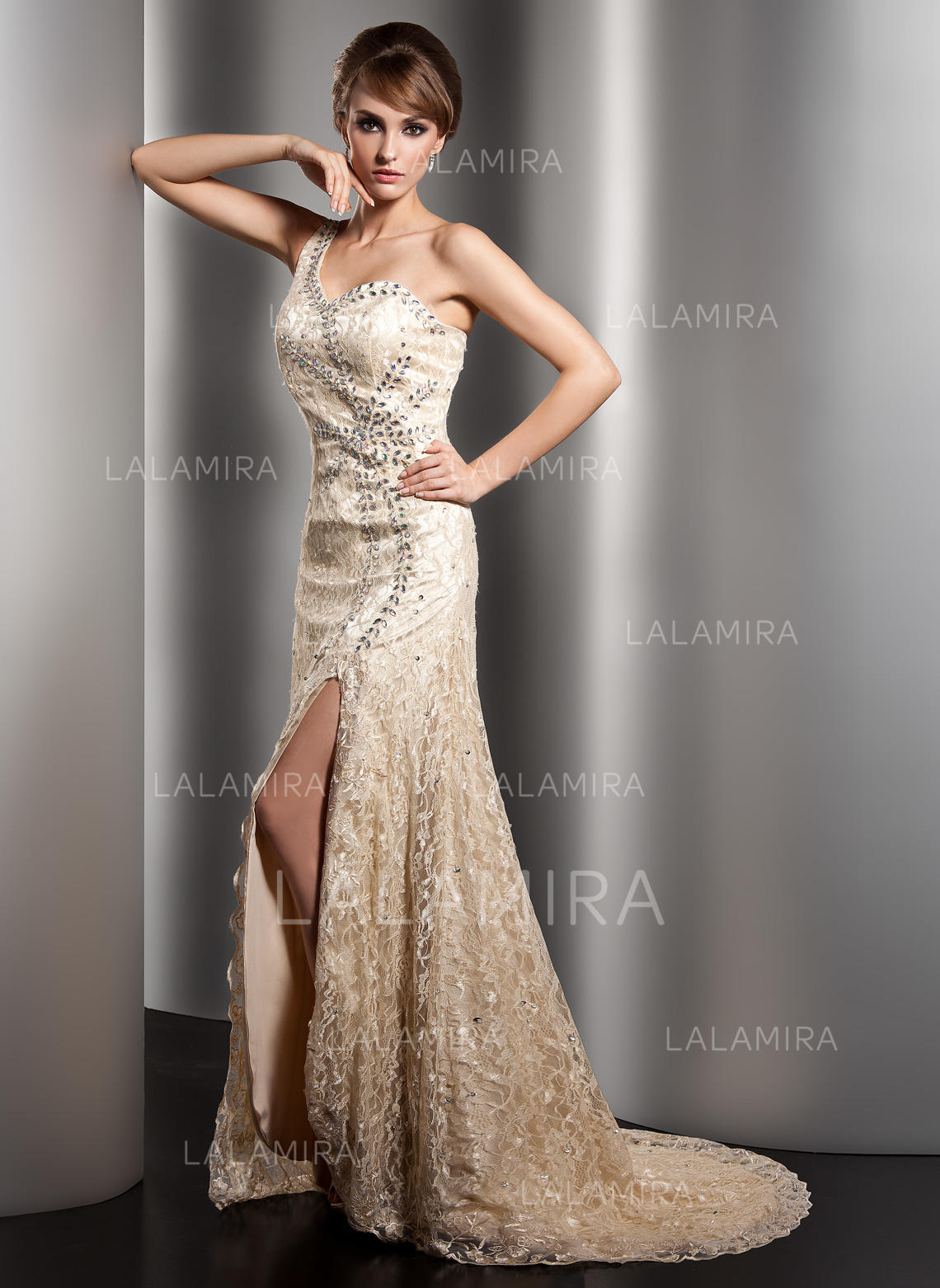 5208b44284a A-Line Princess Lace Sleeveless One-Shoulder Sweep Train Zipper Up Mother  of. Loading zoom