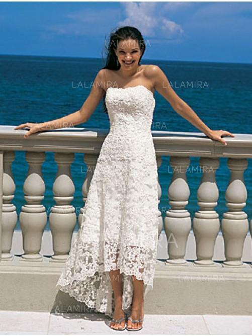 A-Line/Princess Strapless Asymmetrical Wedding Dresses (002144598 ...