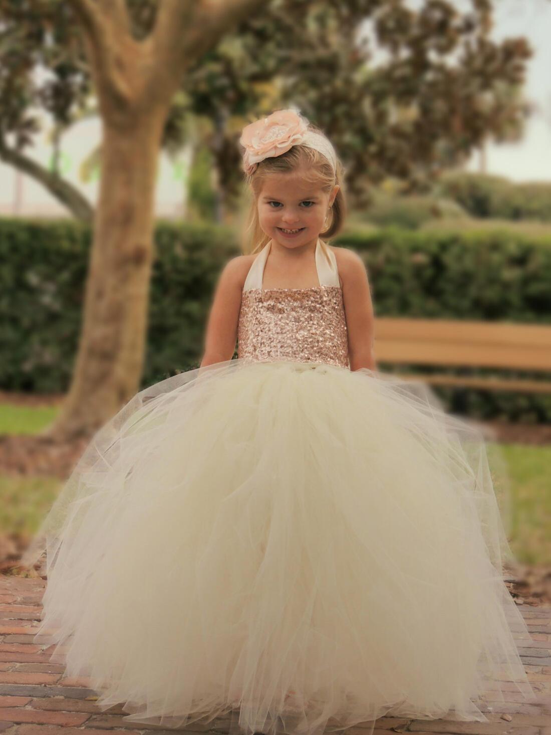 602de8dc1e3 Newest Halter Ball Gown Flower Girl Dresses Floor-length Tulle Sequined  Sleeveless (010145221. Loading zoom