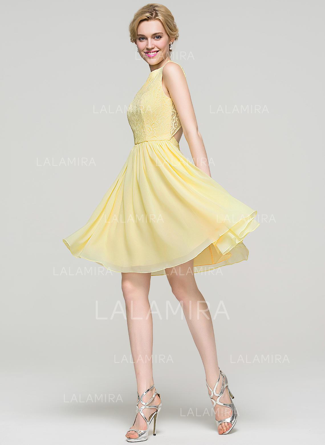 b464ad41b18 A-Line Princess Knee-Length Homecoming Dresses Scoop Neck Chiffon  Sleeveless (022214114. Loading zoom