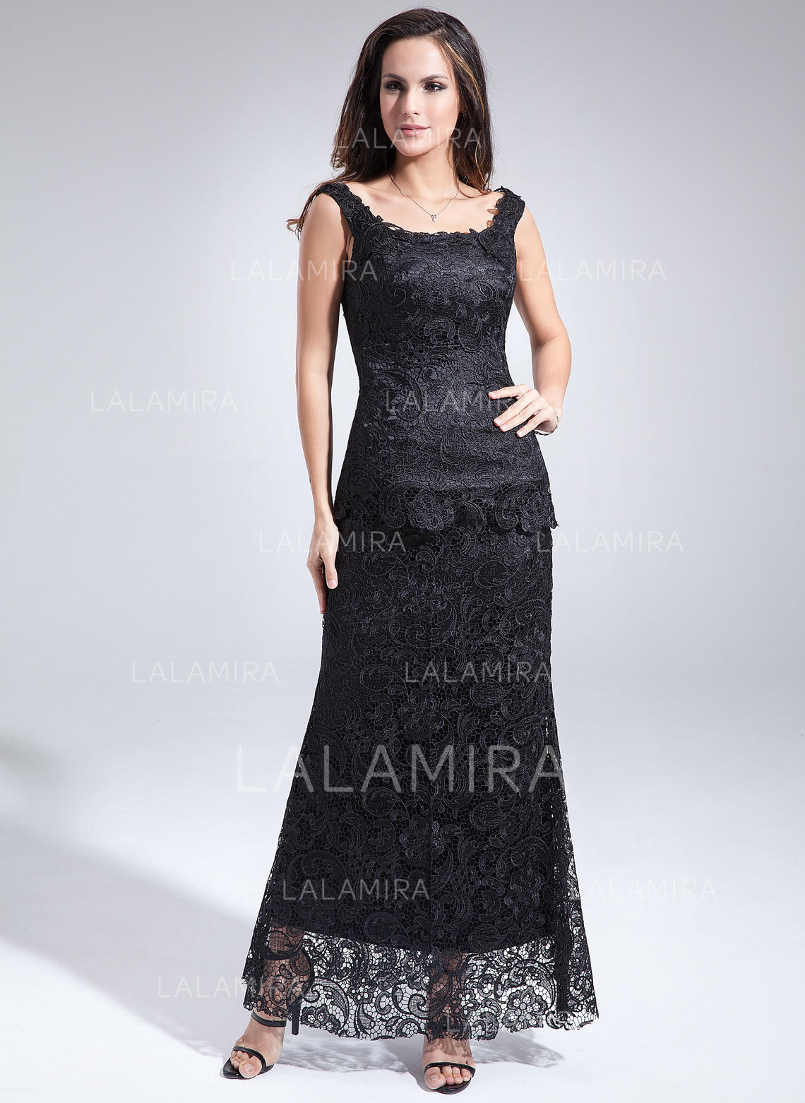 56dc09c51553 Sheath/Column Lace Sleeveless Scoop Neck Ankle-Length Zipper Up at Side  Mother of. Loading zoom