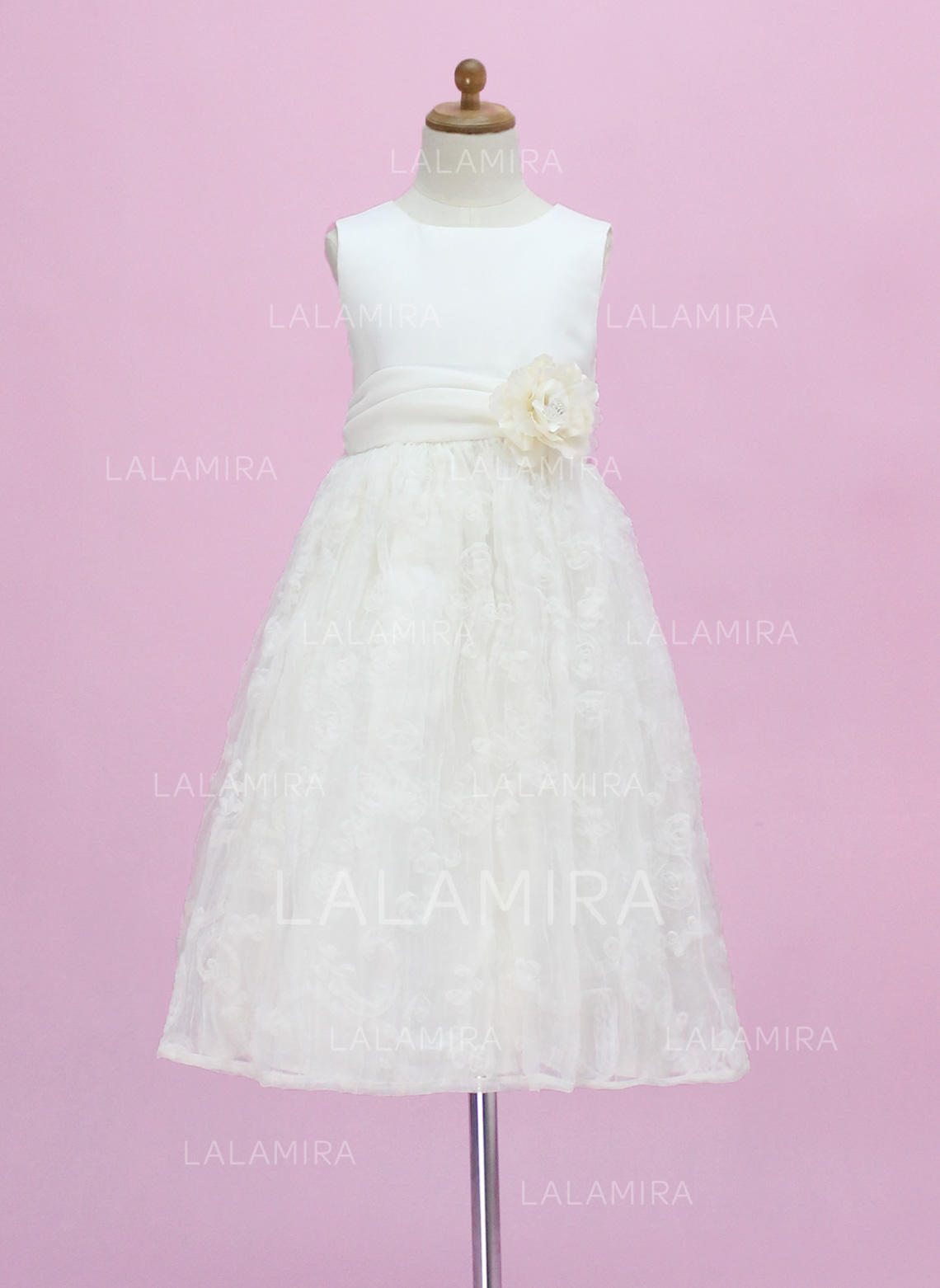 75dd74d9a Estonteante Decote redondo Vestidos princesa/ Formato A Vestidos de daminha  Longuete Cetim/Renda Sem. Loading zoom. Carregando