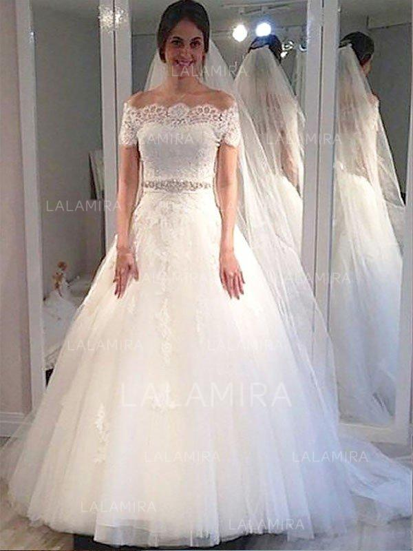 sweep train ball-gown stunning tulle wedding dresses