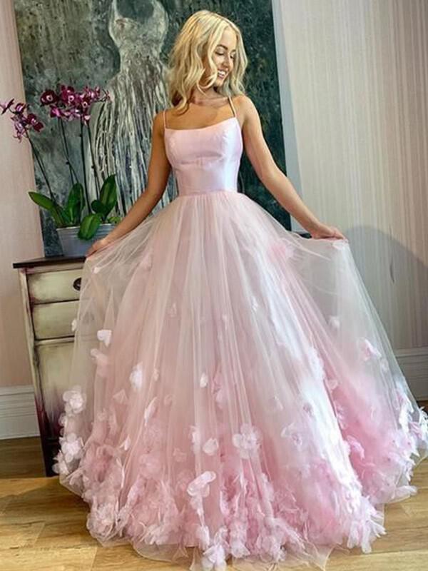 Floor-Length Spaghetti Straps Tulle A-Line/Princess Prom Dresses