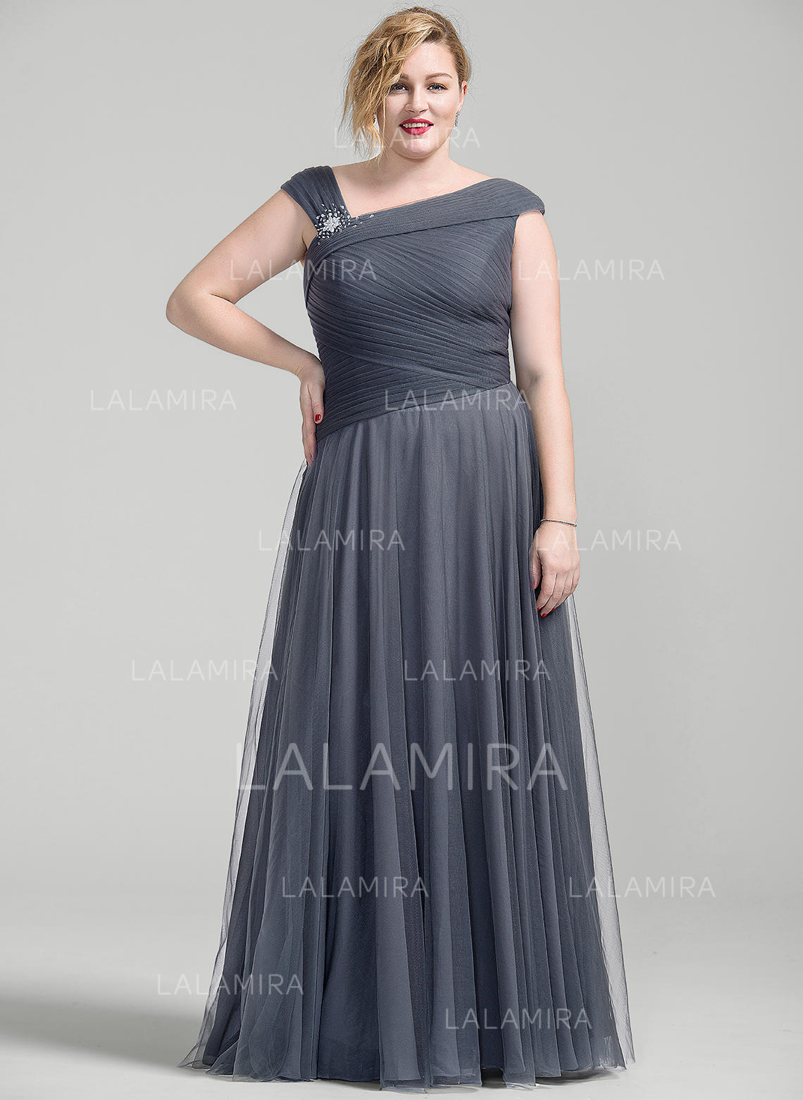 b0d59e66937ef A-Line Princess Tulle Sleeveless Floor-Length Zipper Up Mother of the Bride.  Loading zoom