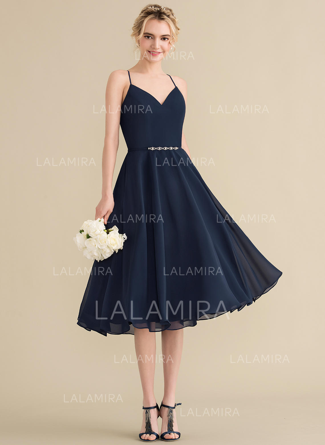 0ec58980219 A-Line Princess V-neck Knee-Length Chiffon Cocktail Dress With Beading. Loading  zoom