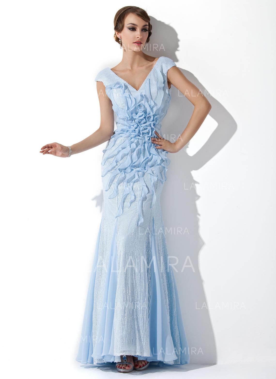 d61a7ce4c Precioso Con lentejuelas Vestidos de noche Corte trompeta sirena Hasta el suelo  Escote en V. Loading zoom