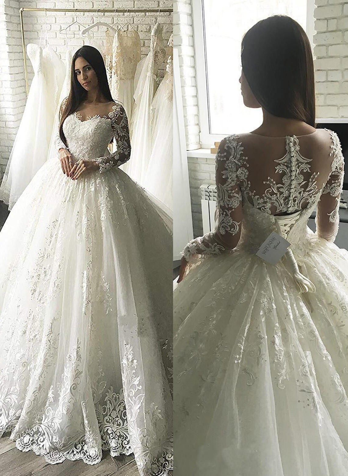 e965f9d846f Ball-Gown Appliques Tulle - Luxurious Wedding Dresses (002213511). Loading  zoom