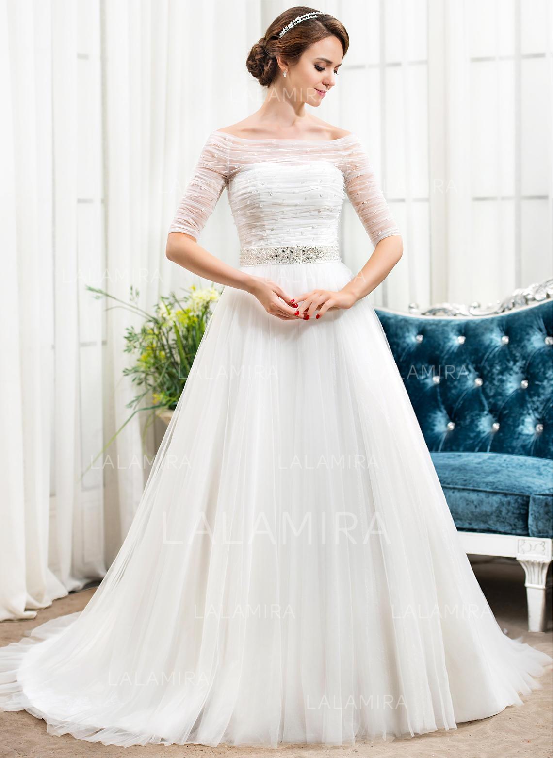 8054ba1aa Por debajo del hombro Corte A Princesa Vestidos de novia Tul Volantes  Cuentas Lentejuelas Cola. Loading zoom