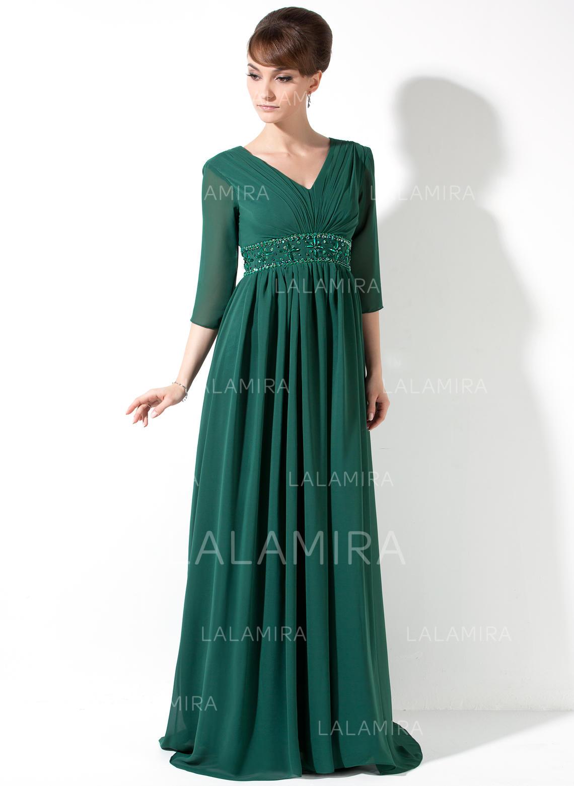 1706fb0660104 Empire Chiffon Prom Dresses Ruffle Beading Sequins V-neck 3/4 Sleeves Sweep  Train. Loading zoom