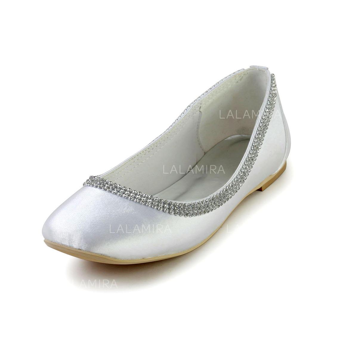 319c6a0490c Women s Closed Toe Flats Flat Heel Silk Like Satin With Rhinestone Wedding  Shoes (047203303). Loading zoom