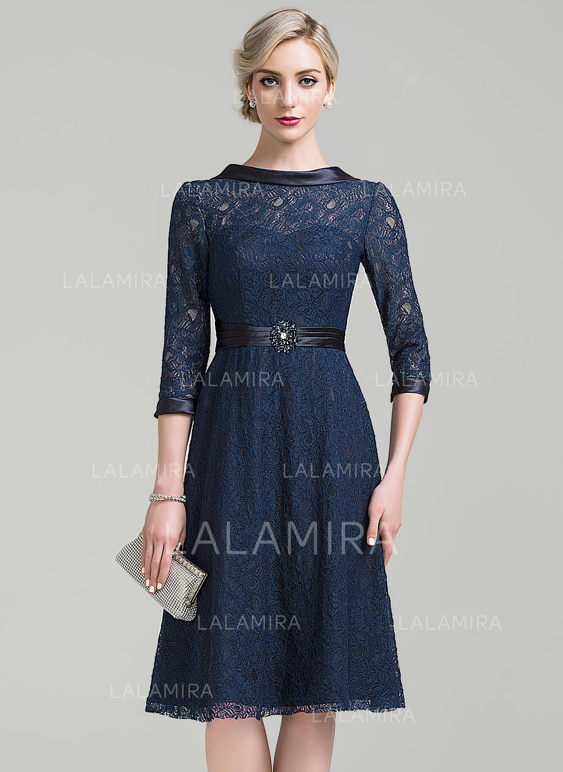 20ca40947 A-Line Princess Lace 3 4 Sleeves Scoop Neck Knee-Length Zipper. Loading zoom