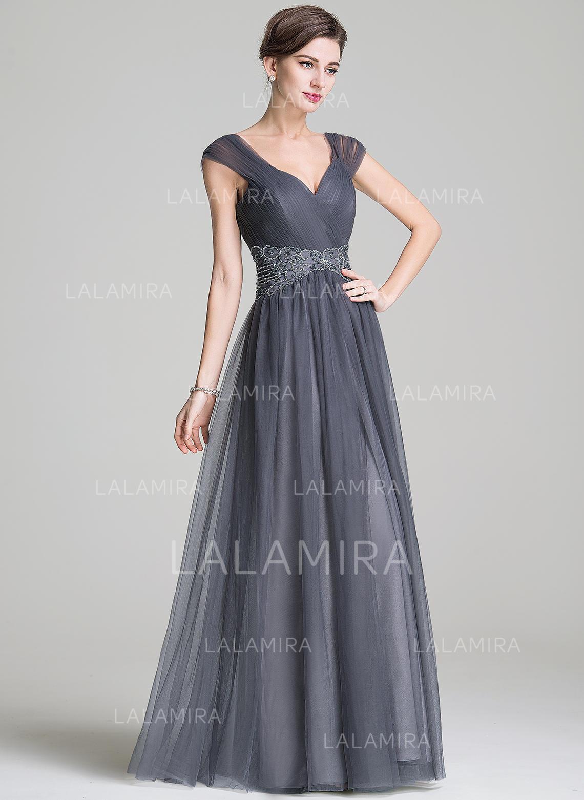 93ad0394 Elegant Gulvlengde A-formet/Prinsesse Tyll Kjoler til Brudens Mor  (008211132). Loading zoom