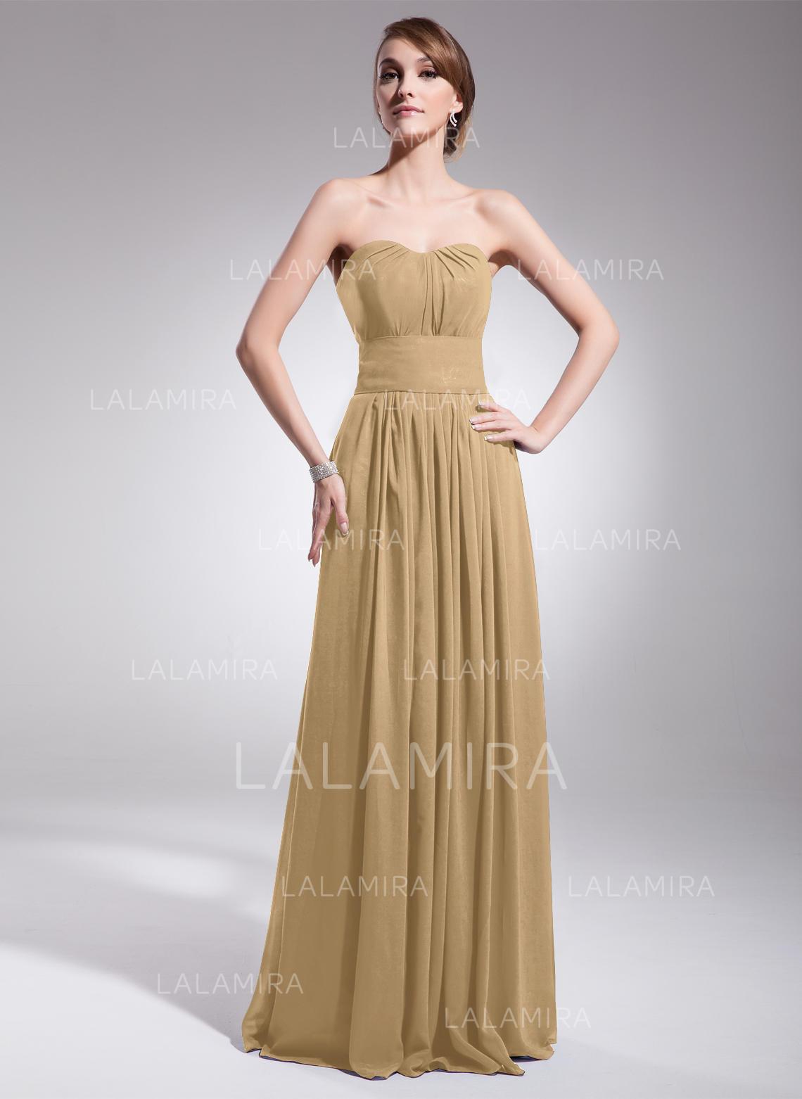 91c35b18be48 A-Line/Princess Chiffon Bridesmaid Dresses Ruffle Sweetheart Sleeveless  Floor-Length (007063017. Loading zoom
