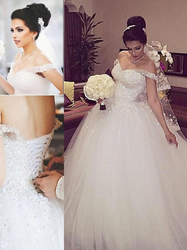 cbc31b054f3 Ball-Gown Off-The-Shoulder Floor-Length Tulle Wedding Dresses (002144868.  Loading zoom
