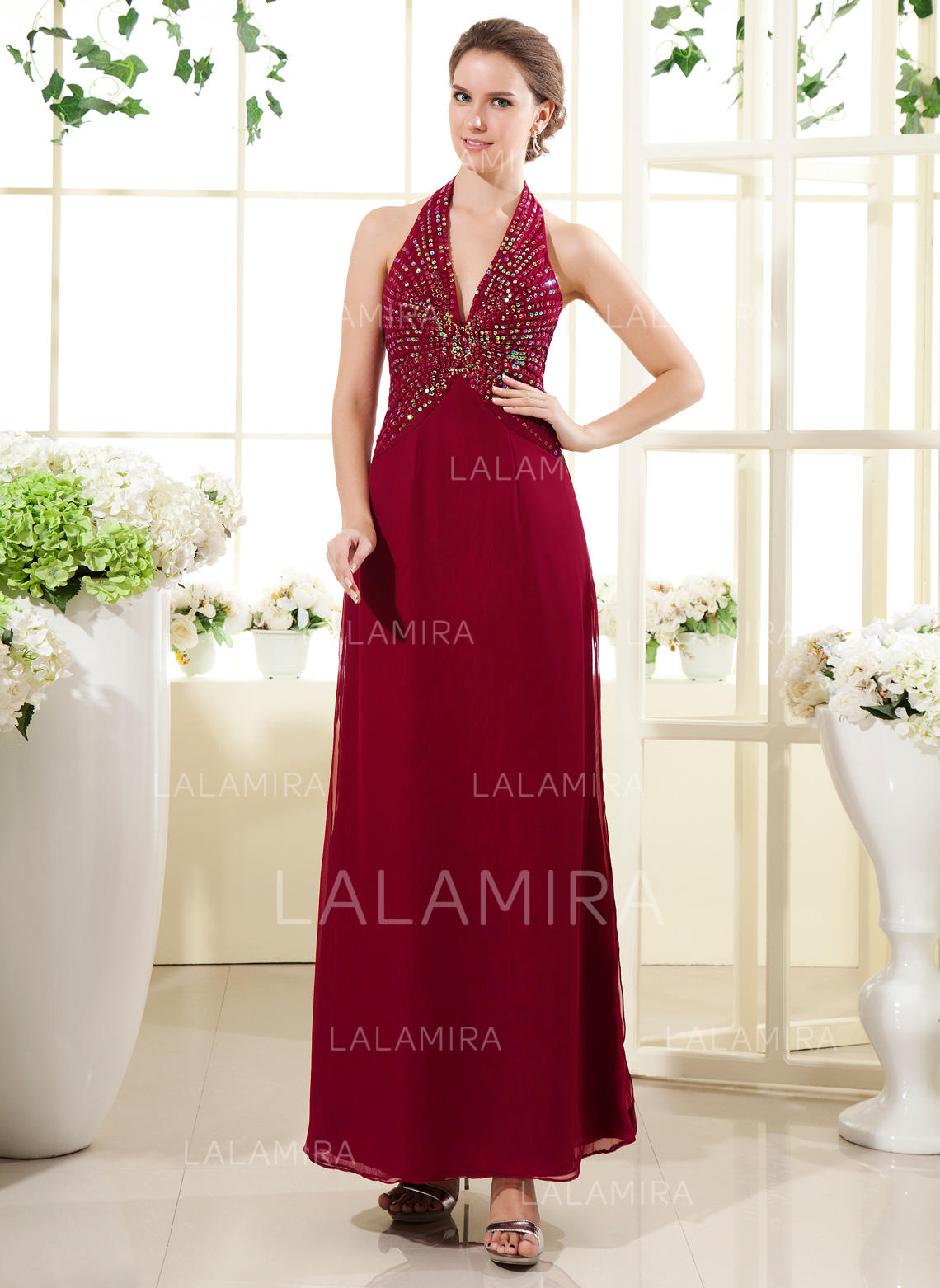 f139769fcaa A-Line Princess Chiffon Sleeveless Halter Ankle-Length Zipper Up Mother of  the. Loading zoom