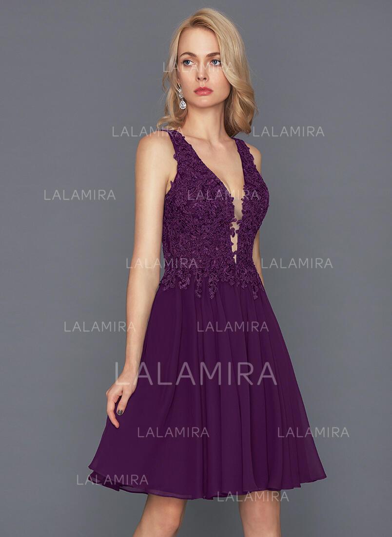 8e7d0d30a40 Magnificent Chiffon Homecoming Dresses A-Line Princess Knee-Length V-neck  Sleeveless. Loading zoom