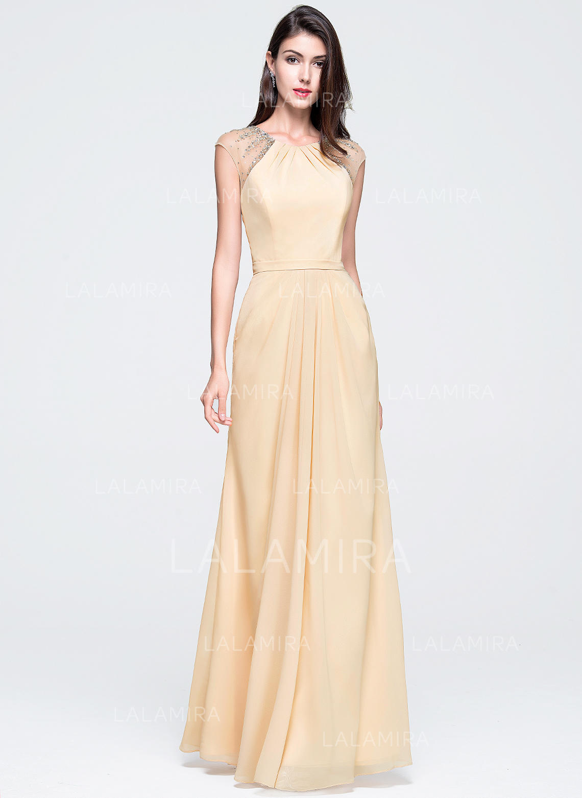 c47a48f374a A-Line Princess Prom Dresses Glamorous Floor-Length Scoop Neck Sleeveless  (018070350. Loading zoom