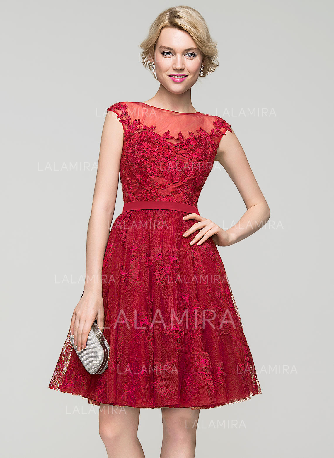 c4dac30fc1b A-Line Princess Knee-Length Homecoming Dresses Scoop Neck Tulle Lace  Sleeveless (. Loading zoom