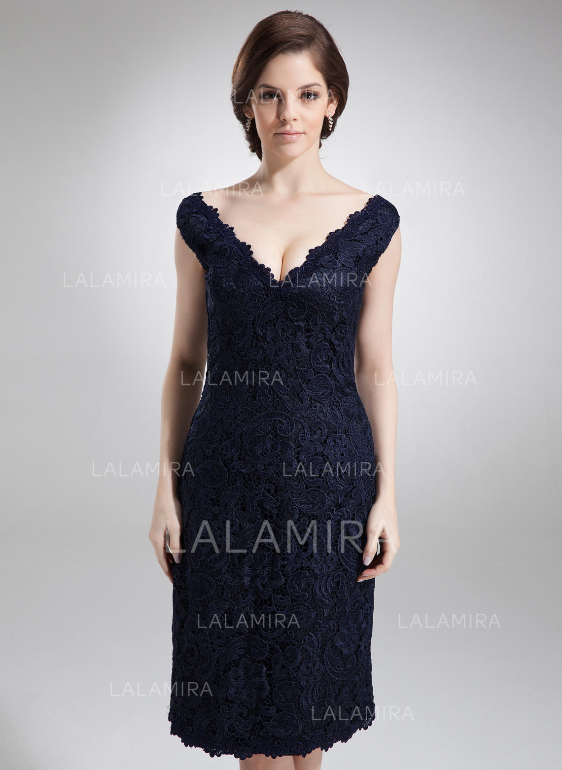 00d130b72f Sheath Column Lace Sleeveless Off-the-Shoulder Knee-Length Zipper Up  Mother. Loading zoom