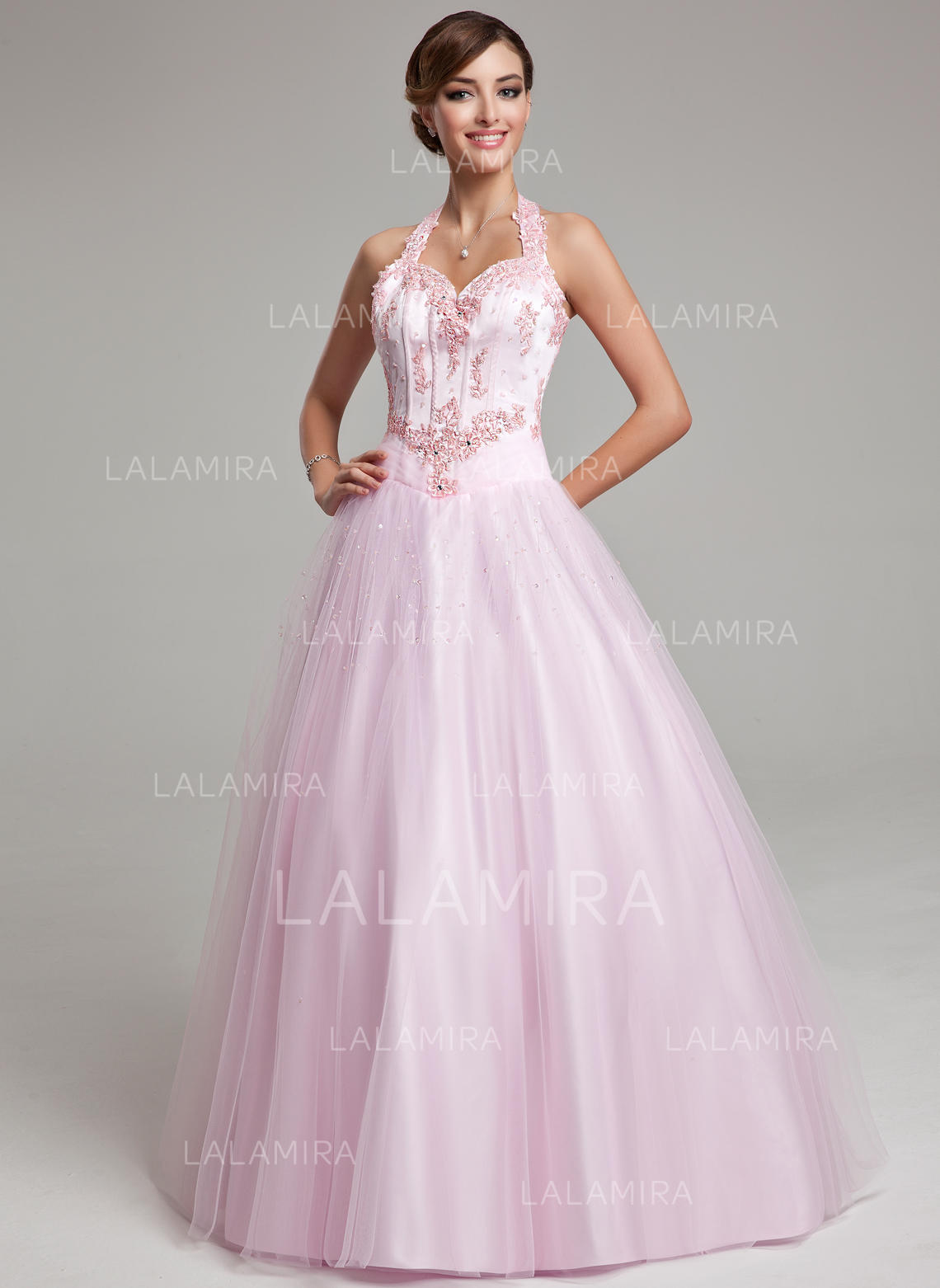 b69ba1d563974 Ball-Gown Halter Floor-Length Tulle Prom Dresses With Beading Appliques Lace  (018135521. Loading zoom
