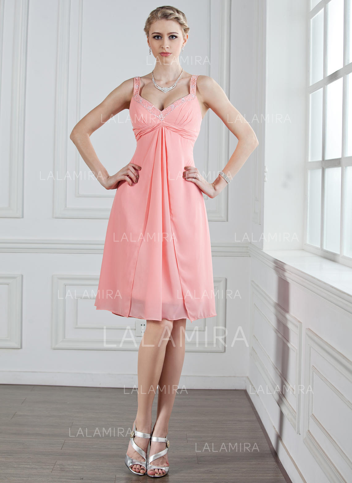 A-Line/Princess Sweetheart Knee-Length Chiffon Bridesmaid Dress With ...
