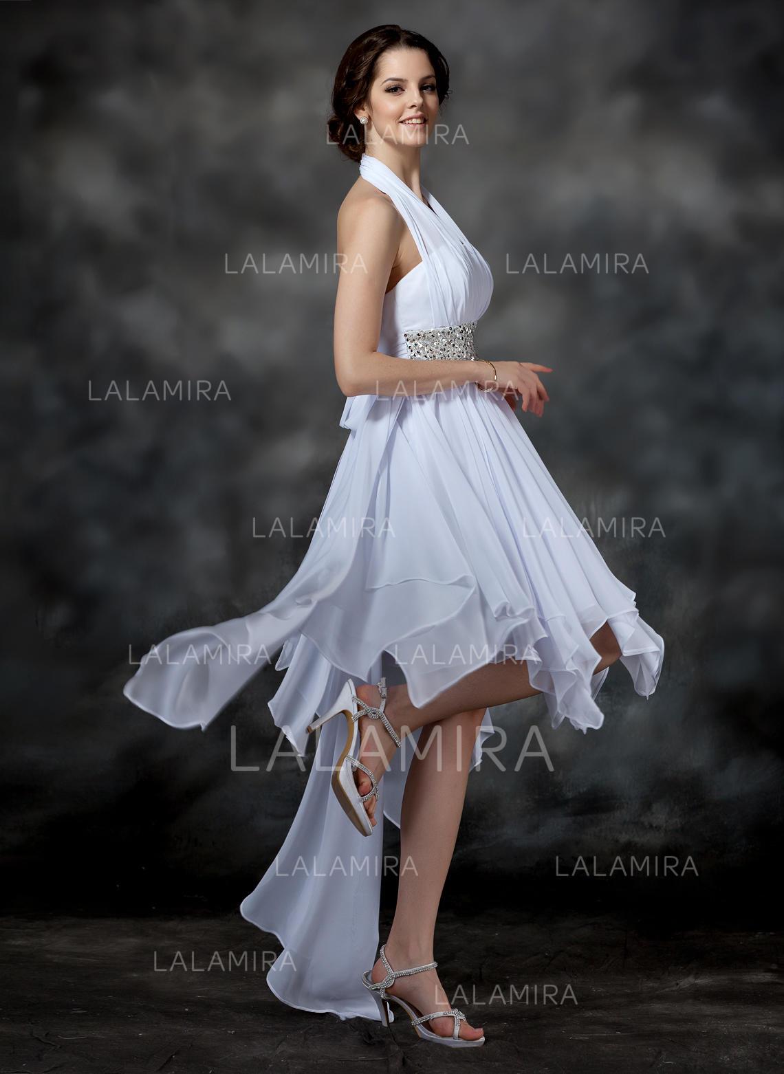 0f53b12deab A-Line/Princess Asymmetrical Homecoming Dresses Halter Chiffon Sleeveless  (022009540). Loading zoom