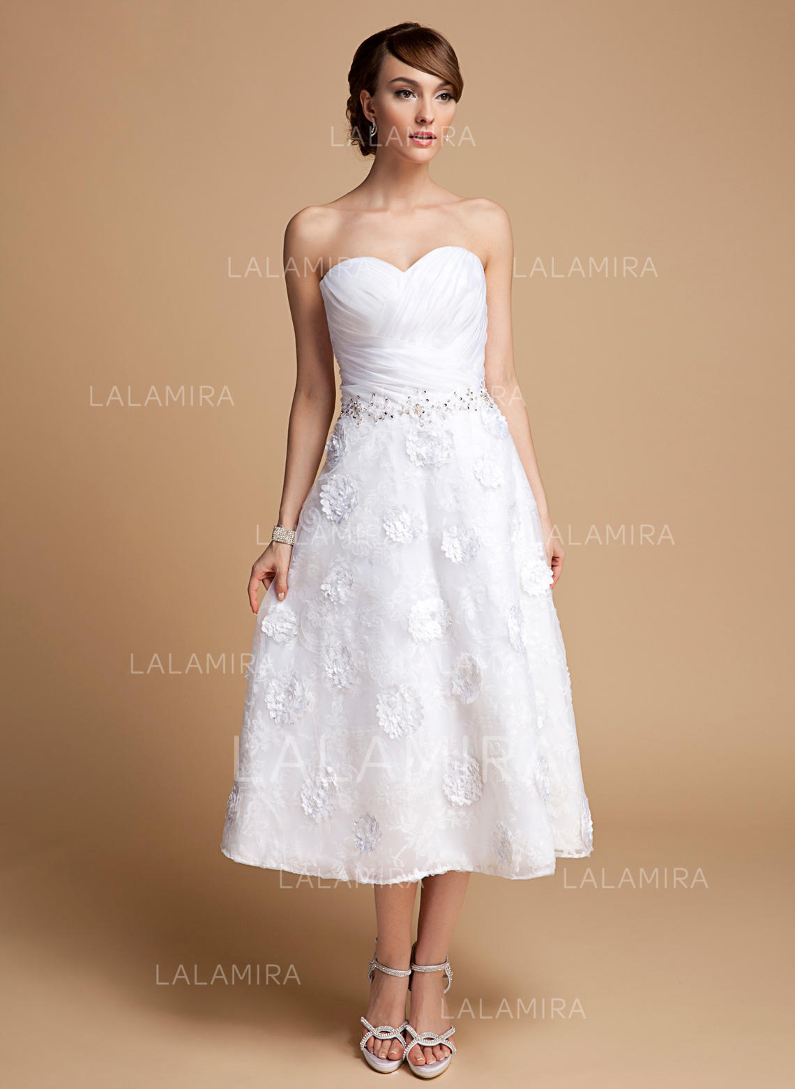 Sweetheart Alineprincess Wedding Dresses Organza Lace Ruffle Beading Flowers Loading Zoom: Tea Length Organza Wedding Dress At Websimilar.org