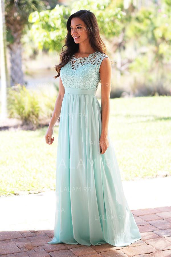 A-Line/Princess Scoop Neck Floor-Length Bridesmaid Dresses ...