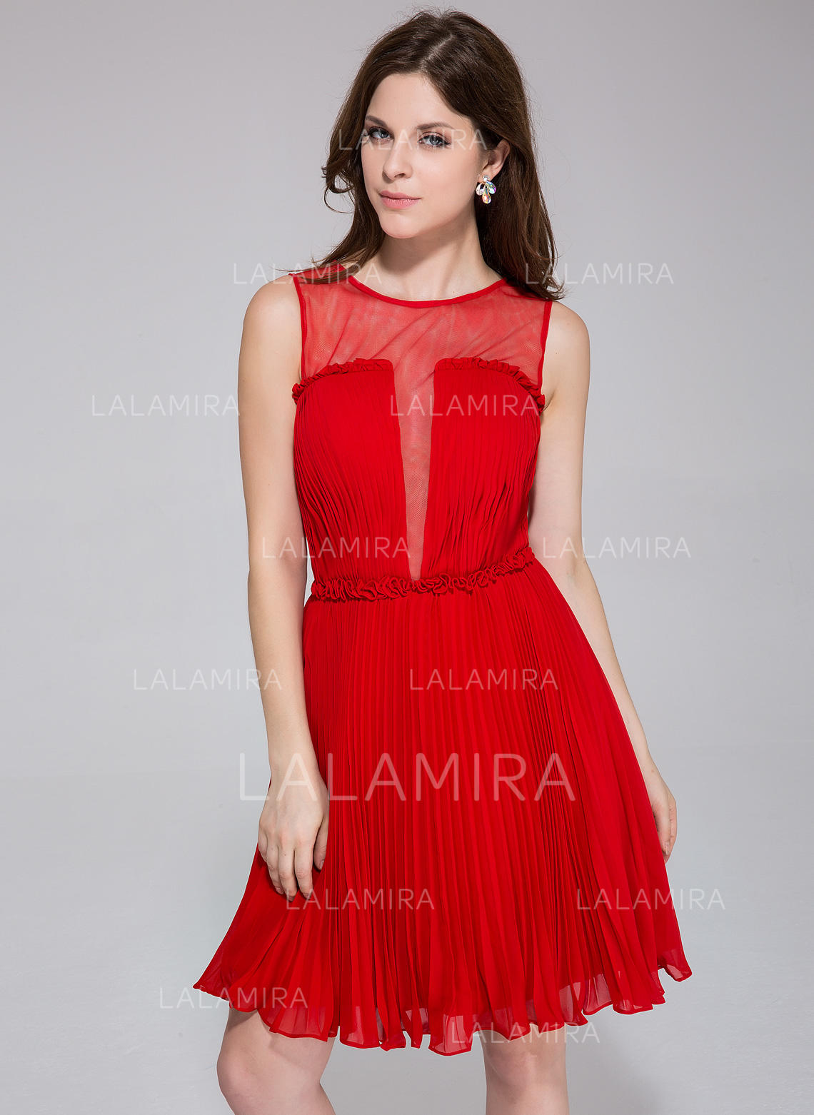 d30c8c5a684 A-Line Princess Chiffon Prom Dresses Flower(s) Pleated Scoop Neck  Sleeveless. Loading zoom
