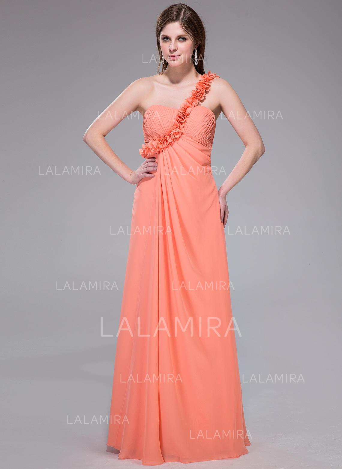 ef08d73b9ac Empire Chiffon Prom Dresses Ruffle Flower(s) One-Shoulder Floor-Length (.  Loading zoom