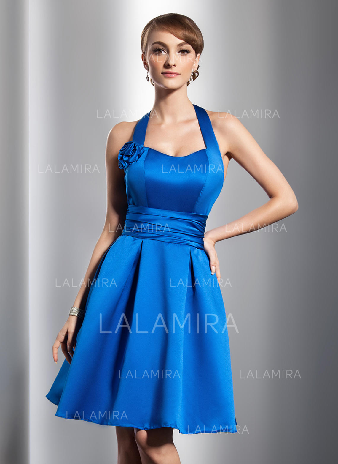fe003c56aa4 A-Line Princess Knee-Length Homecoming Dresses Halter Satin Sleeveless  (022213992). Loading zoom