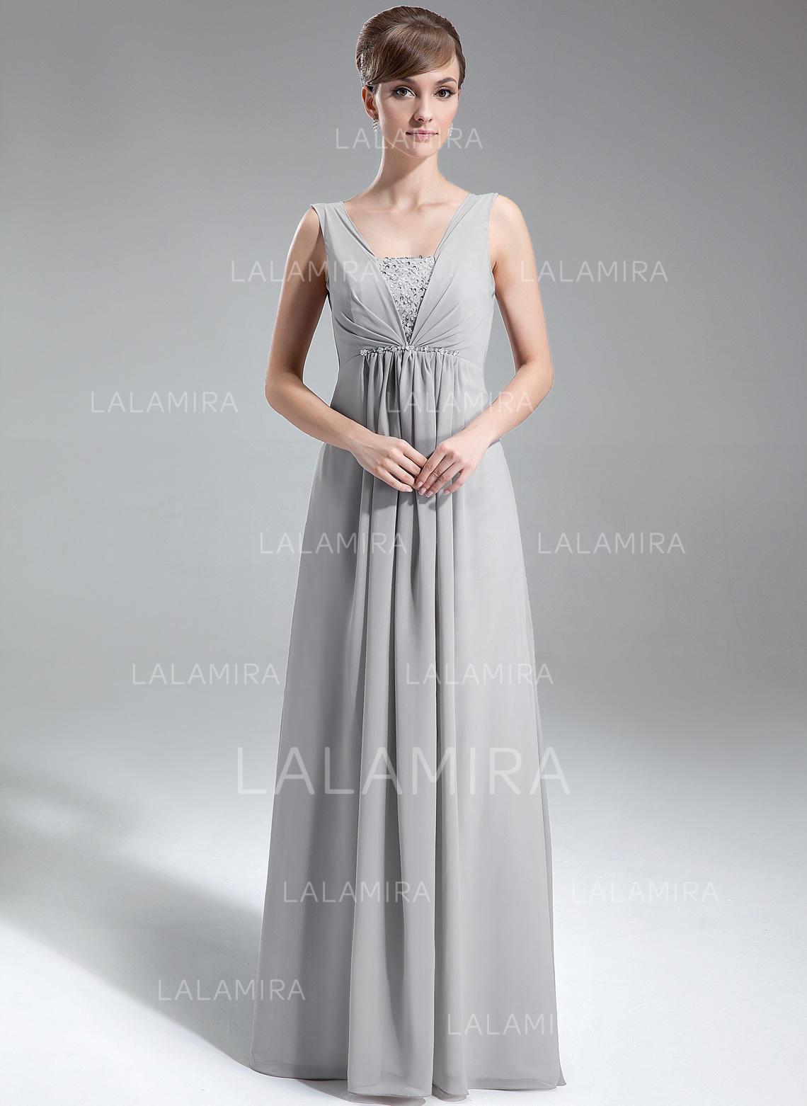 044a1f4cde1 A-Line Princess Chiffon Prom Dresses Ruffle Beading Sequins V-neck  Sleeveless Floor. Loading zoom